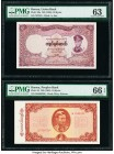 Burma Union Bank; Peoples Bank 20; 10 Kyats ND (1958); ND (1965) Pick 49a; 54 Two Examples PMG Choice Uncirculated 63; Gem Uncirculated 66 EPQ. Commen...