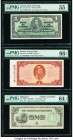 Burma Peoples Bank 10 Kyats ND (1965) Pick 54 PMG Gem Uncirculated 66 EPQ; Philippines The Japanese Government 1 Peso ND (1942) Pick 106x Allied Count...