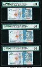Colombia Banco de la Republica 2000 Pesos 2015 (ND 2016) Pick 458a Three Fancy Serial Number Examples PMG Choice Uncirculated 63; Gem Uncirculated 66 ...