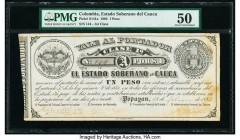 Colombia Billete del Estado 1 Peso 18.2.1882 Pick S141a PMG About Uncirculated 50. Stained; minor rust.  HID09801242017  © 2020 Heritage Auctions | Al...