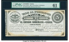 Colombia Billete del Estado 5 Pesos 1882 Pick S142a PMG Uncirculated 61. Hand signed; discolored.  HID09801242017  © 2020 Heritage Auctions | All Righ...