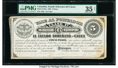 Colombia Billete del Estado 5 Pesos 15.4.1882 Pick S142a PMG Choice Very Fine 35 Net. Stained; paper damage.  HID09801242017  © 2020 Heritage Auctions...