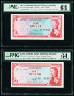 East Caribbean States Currency Authority 1 Dollar ND (1965) Pick 13a; 13g Two Examples PMG Choice Uncirculated 64; Choice Uncirculated 64 EPQ .   HID0...