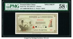 French Indochina Banque de l'Indo-Chine 1 Piastre ND (1945-51) Pick 76s Specimen PMG Choice About Unc 58 EPQ. Two POCs; red Specimen overprint.  HID09...