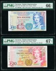 Guernsey States of Guernsey 10; 20 Pounds ND (1995); ND (1966) Pick 57b; 58c Two Examples PMG Gem Uncirculated 66 EPQ; Superb Gem Unc 67 EPQ.   HID098...