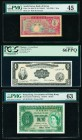 Hong Kong Government of Hong Kong 1 Dollar 1.7.1959 Pick 324Ab KNB19 PMG Choice Uncirculated 63; Philippines Central Bank 1 Peso ND (1949) Pick 133g P...