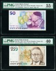 Israel Bank of Israel 50; 100 New Sheqalim 1992; 1995 Pick 55c; 56c Two Examples PMG About Uncirculated 55 EPQ; Extremely Fine 40.   HID09801242017  ©...