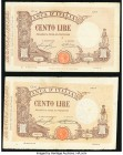 Italy Banca d'Italia 100 Lira 9.9.1920 Pick 39f; 7.3.1929 Pick 48b Fine-Very Fine. Minor edge and internal splits.  HID09801242017  © 2020 Heritage Au...