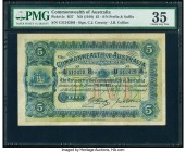 Australia Commonwealth of Australia 5 Pounds ND (1918) Pick 5c R37b PMG Choice Very Fine 35. A lovely example of this denomination from the early Comm...