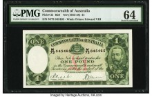 Australia Commonwealth of Australia 1 Pound ND (1933-38) Pick 22 R28 PMG Choice Uncirculated 64. An amazing issue with a dynamic eye appeal featuring ...