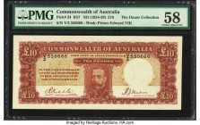 Australia Commonwealth of Australia 10 Pounds ND (1934-39) Pick 24 R57 PMG Choice About Unc 58. A gorgeous example of the highest denomination and key...