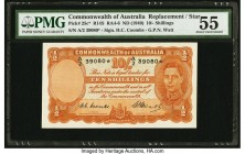 Australia Commonwealth of Australia 10 Shillings ND (1949) Pick 25c* R14S Replacement PMG About Uncirculated 55. Brilliant inks are juxtaposed with th...