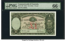 Australia Commonwealth of Australia 1 Pound ND (1942) Pick 26b R30 PMG Gem Uncirculated 66 EPQ. A lovely high grade 1 pound from the always popular Ki...
