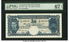 Australia Commonwealth of Australia 5 Pounds ND (1952) Pick 27d R48 PMG Superb Gem Unc 67 EPQ. A simply stunning Australian issue, and the final signa...