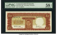 Australia Commonwealth of Australia 10 Pounds ND (1942) Pick 28b R59 PMG Choice About Unc 58 EPQ. This high grade example features a well framed portr...