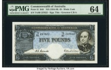 Australia Commonwealth of Australia 5 Pounds ND (1954-59) Pick 31 R49 PMG Choice Uncirculated 64. A lovely high grade example with bright paper, deep ...