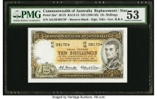 Australia Commonwealth of Australia 10 Shillings ND (1961-65) Pick 33a* R17S Replacement PMG About Uncirculated 53. Excellent colors are seen on this ...