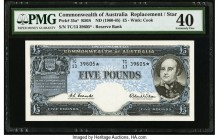 Australia Commonwealth of Australia 5 Pounds ND (1960-65) Pick 35a* R50S Replacement PMG Extremely Fine 40. A scarce note with only two replacements r...