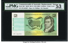 Australia Commonwealth of Australia 2 Dollars ND (1968) Pick 38c* R83S Replacement PMG About Uncirculated 53. A ZFL block and star suffix are seen on ...