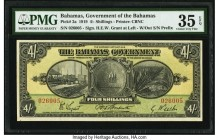 Bahamas Bahamas Government 4 Shillings 1919 Pick 2a PMG Choice Very Fine 35 EPQ. An always desirable, large format type that is occasionally seen in w...