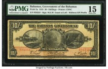 Bahamas Bahamas Government 10 Shillings 1919 Pick 3a PMG Choice Fine 15. Seldom seen in any grade and missing from most relevant collections, this han...