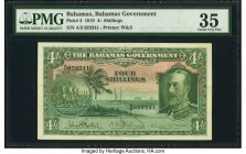 Bahamas Bahamas Government 4 Shillings 1919 (ND 1935) Pick 5 PMG Choice Very Fine 35. This early issue includes the A/2 prefix and three signatures. K...