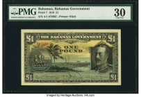 Bahamas Bahamas Government 1 Pound 1919 (ND 1930) Pick 7 PMG Very Fine 30. An impressive portrait of King George V and a ship seal highlight this exam...
