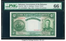 Bahamas Bahamas Government 4 Shillings 1936 Pick 9e PMG Gem Uncirculated 66 EPQ. A remarkable portrait of King George VI and ships seal accent the fro...