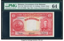 Bahamas Bahamas Government 10 Shillings 1936 (ND 1947) Pick 10d PMG Choice Uncirculated 64. Elegantly designed borders, deep inks, and spectacular gui...