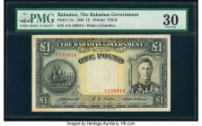 Bahamas Bahamas Government 1 Pound 1936 Pick 11a PMG Very Fine 30. A lightly circulated 1 pound from the 1930s issue featuring King George VI at right...