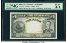 Bahamas Bahamas Government 1 Pound 1936 (ND 1947) Pick 11e PMG About Uncirculated 55. Bold inks enhance this prefix A/8 variety from the King George V...
