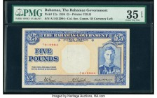 Bahamas Bahamas Government 5 Pounds 1936 (ND 1944) Pick 12a PMG Choice Very Fine 35 EPQ. This is the scarce first issue of the King George VI 5 pounds...