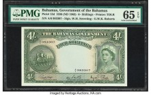 Bahamas Bahamas Government 4 Shillings 1936 (ND 1963) Pick 13d PMG Gem Uncirculated 65 EPQ. Prefix A/6 and the signature combination of Higgs, Sweetin...
