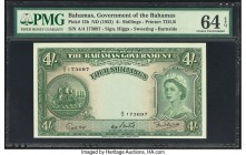 Bahamas Bahamas Government 4 Shillings 1936 (ND 1954) Pick 13b PMG Choice Uncirculated 64 EPQ. A visually appealing 4 shillings with the Higgs, Sweeti...