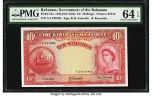 Bahamas Bahamas Government 10 Shillings 1936 (ND 1953) Pick 14a PMG Choice Uncirculated 64 EPQ. The first signature combination is seen on this popula...