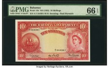 Bahamas Bahamas Government 10 Shillings ND (1953) Pick 14b PMG Gem Uncirculated 66 EPQ. A high grade 10 shillings from the 1953 Queen Elizabeth II por...