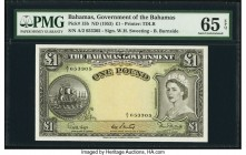 Bahamas Bahamas Government 1 Pound ND (1953) Pick 15b PMG Gem Uncirculated 65 EPQ. A desirable high grade large denomination from the 1953 issue. Grea...