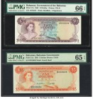 Bahamas Bahamas Government 1/2; 5 Dollars 1965 Pick 17a; 21a Two Examples PMG Gem Uncirculated 66 EPQ; Gem Uncirculated 65 EPQ. A wonderful high grade...