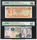 Bahamas Central Bank 5; 100 Dollars 1974; 2009 Pick 37a; 76 Two Examples PMG Gem Uncirculated 66 EPQ; Superb Gem Unc 67 EPQ. Vibrant colors are seen o...