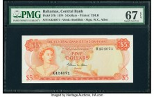 Bahamas Central Bank 5 Dollars 1974 Pick 37b PMG Superb Gem Unc 67 EPQ. A visually pleasing design featuring a portrait of Queen Elizabeth II wearing ...
