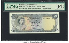 Bahamas Central Bank 10 Dollars 1974 Pick 38a PMG Choice Uncirculated 64 EPQ. A well preserved example from the first Central Bank issue. A portrait o...