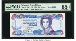 Bahamas Central Bank 100 Dollars 1974 (ND 1992) Pick 56 PMG Gem Uncirculated 65 EPQ. A striking color palette was used on this lovely example printed ...