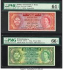 Belize Government of Belize 5 Dollars 1.6.1975 Pick 35a PMG Choice Uncirculated 64 EPQ; British Honduras Government of British Honduras 1 Dollar 1.1.1...
