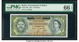 Belize Government of Belize 10 Dollars 1.6.1975 Pick 36b PMG Gem Uncirculated 66 EPQ. The first D/1 prefix is seen on this always popular design featu...