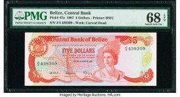 Belize Central Bank 5 Dollars 1.1.1987 Pick 47a PMG Superb Gem Unc 68 EPQ. A gorgeous, high grade example which, at the time of cataloging, registered...