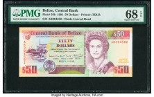 Belize Central Bank 50 Dollars 1.6.1991 Pick 56b PMG Superb Gem Unc 68 EPQ. An underrated date and denomination, and especially desirable in this elit...