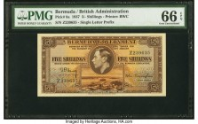 Bermuda Bermuda Government 5 Shillings 12.5.1937 Pick 8a PMG Gem Uncirculated 66 EPQ. The single letter prefix Bermuda series is one of the sleepers i...