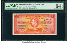 Bermuda Bermuda Government 10 Shillings 17.2.1947 Pick 15 PMG Choice Uncirculated 64 EPQ. Brilliant inks and heavy embossing are seen on both sides of...