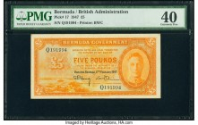 Bermuda Bermuda Government 5 Pounds 17.2.1947 Pick 17 PMG Extremely Fine 40. A simply outstanding issue, seldom seen, and even more impressive in Extr...