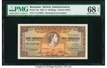 Bermuda Bermuda Government 5 Shillings 20.10.1952 Pick 18a PMG Superb Gem Unc 68 EPQ. The 1952 dated 5 Shillings note is a sleeper in the series and s...